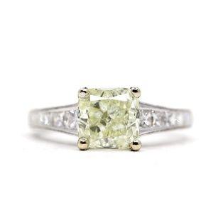 2.67 Carat Cushion GIA Princess Engagement Ring